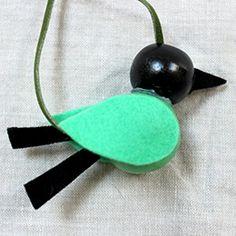 Wooden bead bird necklace DIY