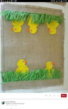 Tipuliina Easter Arts And Crafts, Diy And Crafts, Crafts For Kids, Handicraft, Art For Kids, Needlework, Art Projects, Burlap, Kids Rugs
