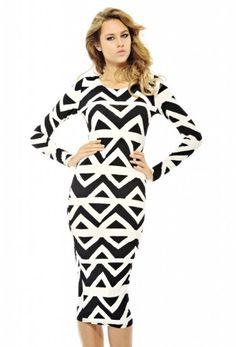 Geo Print Midi Dress shopmodmint.com