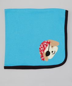 Blue Pirate Pup Stroller Blanket