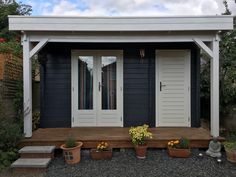 Contemporary Garden room with integral store room & canopy, painted grey & white, roof under high. Contemporary Garden Rooms, Contemporary Interior, Garden Log Cabins, Canopy, Decor Styles, Shed, Outdoor Structures, Outdoor Decor, Modern