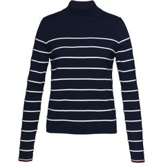 Tommy Hilfiger Ivy Mock Neck Stripe Jumper, Navy Blazer/Snow White (1,505 MXN) ❤ liked on Polyvore featuring tops, sweaters, navy striped sweater, tommy hilfiger sweater, striped sweater, blue striped sweater and patterned sweaters