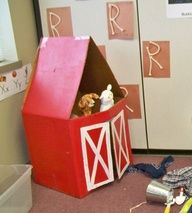 Barn made of cardboard...awesome for dramatic play!