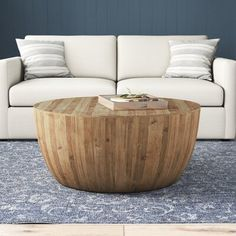 Birch Lane™ Hindsville Solid Wood Drum Coffee Table | Birch Lane Circular Coffee Table, Drum Coffee Table, Solid Wood Coffee Table, Coffee Table Wayfair, Coffee Table With Storage, Round Coffee Table, Unique Coffee Table, The Bo, Dining Chairs