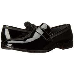 Bruno Magli Carlos (Black Patent/Grossgrain) Men's Slip on  Shoes ($550) ❤ liked on Polyvore featuring men's fashion, men's shoes, men's dress shoes, mens shoes, mens dress shoes, mens slip on dress shoes, mens patent shoes and mens slipon shoes