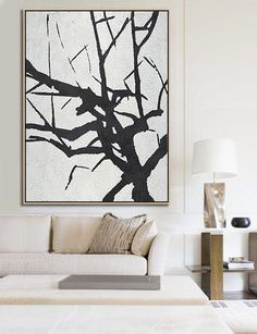 CZ ART DESIGN ( Celine Ziang Art) - Hand-painted black and white Minimalist painting on canvas for neutral home or modern interiors. Abstract Tree Painting, Abstract Wall Art, Abstract Landscape, Minimal Art, Minimalist Painting, White Art, Modern Art, Street Art, Sculpture