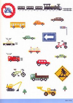 Master Makoto Oozu Collection 03 (570×806) vehicles, transportation - train bus car police cruiser fire engine suv construction zone tractor crane backhoe lift bicycle with basket stop light traffic road signs ambulance