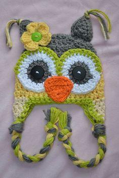 crochet creepy owl hat crochet kids hat crochet by VioletandSassafras Crochet Owl Hat, Crochet Kids Hats, Cute Crochet, Crochet Crafts, Yarn Crafts, Crochet Projects, Knitted Hats, Knit Crochet, Crochet Patterns