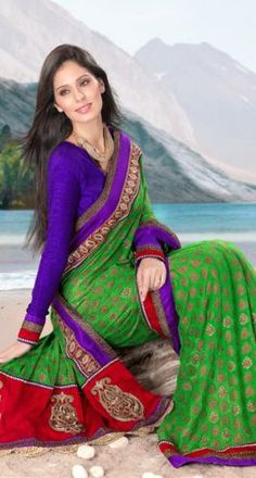 Multicolour Georgette Saree
