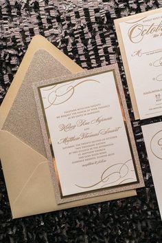 THERESA Suite Fancy Glitter Package, gold glitter wedding invitations, letterpress wedding invitations, fancy black tie wedding invitations