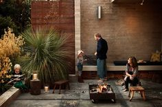 Modern Family Backyard with Grass Tree and Concrete Patio with Modern Firepit and Outdoor Seating, Gardenista -- by Grow Outdoor Design Fire Pit Chairs, Fire Pit Seating, Seating Areas, Small Fire Pit, Modern Fire Pit, Fire Pit Landscaping, Fire Pit Backyard, Outdoor Rooms, Outdoor Gardens
