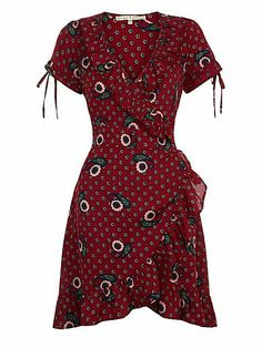 Flower and Paisley Print Wrap Dress With Frills.