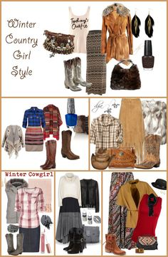 Winter Country Girl Style #FashionFriday #Fur #Fringe #CowboyBoots