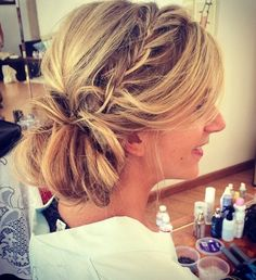 messy side updo with a braid