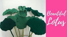 Flor de loto crochet-tallos y hojas