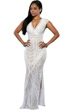 White Lace Nude Side Slit Maxi Dress LAVELIQ Material: Polyester+Spandex Size: (US 4-6)S,(US 8-10)M,(US 12-14)L Color: White Style: Cute Occasion: Cocktail, Formal, Summer, Party Pattern: Solid Sleeve