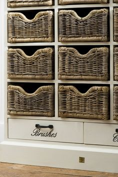 Baskets - I love these baskets in shelves! Perfect for storing all kinds of things in all types of rooms!
