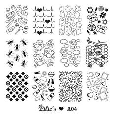 Lilic's stamping plate A04 full nail small candy cane hearbeat heart diamond spade clover sun skyll ant owl lamb honeycomb bee LV beauty swirls letter heart