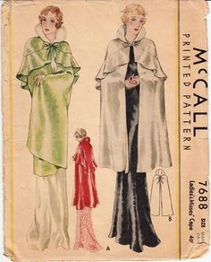 Mccall 7688 sewing pattern for glamorous evening capes, c. 1933. #vintage #1930s #fashion