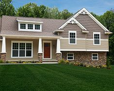 Exterior paint anonymous with urbane bronze and shoji for Craftsman style split level homes