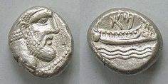 Arados, Phoenicia. c350-332 BCE. AR Stater. Laureate head of Melkart left / Galley right; three waves below, date above.