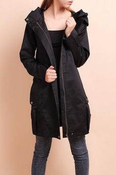 Women's Solid Color #Hooded Autumn & Spring #Jacket