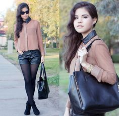Sheinside Camel Shirt With Faux Leather Collar, Romwe Zipper Bag, Causewaymall Suede Booties, My Blog!