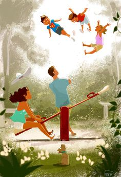 Art of Happy Childhood by Pascal Campion Family Illustration, Digital Illustration, Character Drawing, Character Design, Pascal Campion, Visual Development, Comic Book Covers, Illustrations, American Artists