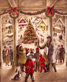 Vintage People in Town Square Singing Around the Christmas Tree Greeting Card