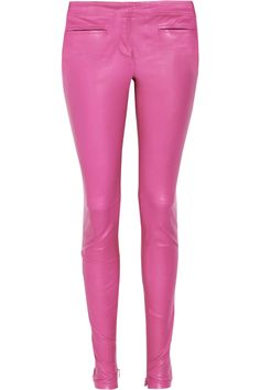 Low-rise leather skinny pants by Roberto Cavalli
