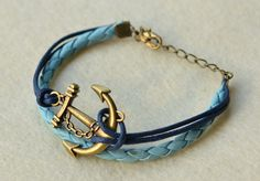 Brass Anchor Charm Bracelet With Navy Wax Cord and Blue Braid Leather, Vintage bracelet. $4.50, via Etsy.
