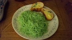 St. Patrick's Day Spaghetti-use natural food coloring
