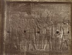 Bas Reliefs from the Temples at Kom Ombo, 19th century. Antonio Beato (1832-1906). The twin temples at Kom Ombo were built during the Ptolemaic Period (305-30 BC) and dedicated to the gods Sobek and Horus.