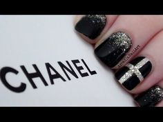 Chanel Inspired Nail Art Design with a golden glitter gradient underneath a transparent cross...