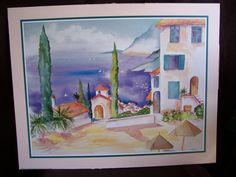 Vintage 1995 signed MADDEN Art Print   House with OCEAN VIEW by LIZ404 on Etsy