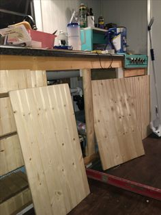Cabinet doors being hung