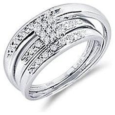 .07 CT Men   Ladies Diamond Rings Set Engagement Wedding Bands 10k White Goldmens wedding rings