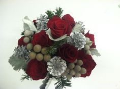 #Winter wedding bouquet with red roses