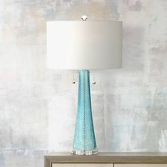 Miriam Modern Table Lamp Light Aqua Blue Textured Glass White Drum Shade for Living Room Family Bedroom Bedside - Possini Euro Design Blue Glass Lamp, Glass Lamps, Contemporary Table Lamps, Modern Table, House Lamp, Glass Texture, Glass Table, Drum Table, Wood Table