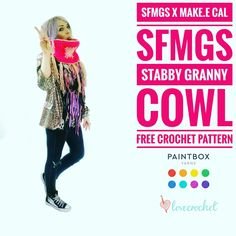 Stabby Granny Cowl | Free Crochet Pattern - Fun, quick and uber-easy! Crochet the Stabby Granny Cowl from the SFMGS x Make.e Stabby Granny Square CAL with Paintbox Yarns at +LoveCrochet.com !!