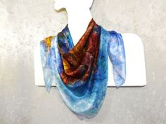 Colorful hand-painted silk scarf Square large by WhisperOfSilk