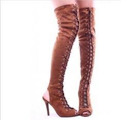 108.99$  Buy now - http://alim9u.worldwells.pw/go.php?t=32790815891 - British Designer Peep Toe Cross-Tied Solid Brown Suede Leather High Heels Women Over The Knee Long Booties Summer Female Sandals 108.99$