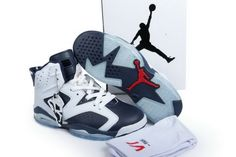 the latest 6e8ea 2475a Official Air Jordan 6 Retro Olympic White and Midnight Navy-Varsity Red Hot  Sale