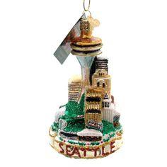 Old World Christmas Seattle Skyline Glass Ornament