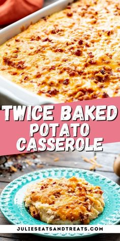 Twice Baked Potato Casserole is the perfect side dish for holidays! Creamy mashed potatoes with all your favorite potato toppings like cheese, bacon and sour cream. Plus, you can even make it ahead of time, so if you are entertaining there's less stress. #potato #casserole Potato Sides, Potato Side Dishes, Side Dishes Easy, Side Dish Recipes, Gourmet Recipes, Cooking Recipes, Cooking Ideas, Twice Baked Potatoes Casserole, Creamy Mashed Potatoes
