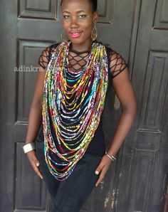 Multi Strand Ankara Rope Necklace By Adinkraexpo On Etsy African Inspired Fashion Africa Fashion
