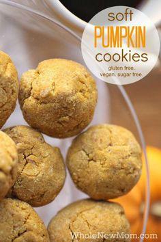 Soft Pumpkin Cookies - gluten free, vegan, and sugar free