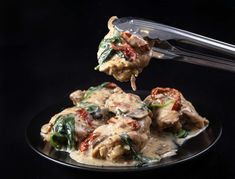 Make this Italian-inspiredCreamy Instant Pot Tuscan Chicken Recipe (Pressure Cooker Tuscan Garlic Chicken).Tender chicken immersed in simple yet richly balanced creamy garlic sauce with caramelized mushrooms and sweet sun-dried tomatoes. Crazy satisfying easy weeknight meal!