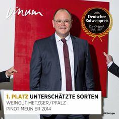 #DeutscherRotweinpreis 1. Platz unterschätzte Sorten (zwei Sieger): Pinot Meunier Pfalz 2014, Weingut Metzger, Grünstadt-Asselheim #Rotweinpreis #Deutscherwein