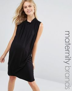 Mama.licious | Mamalicious Nursing Sleeveless Drape Front Jersey Dress